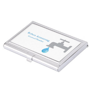 Plumber Faucet Water Drop Business Card Holder