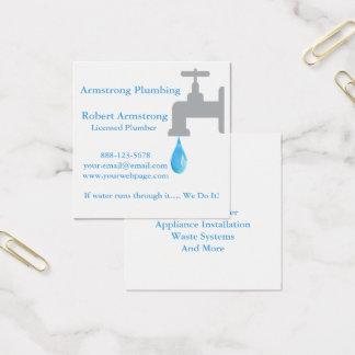 Plumber Faucet Water Drop Square Business Card