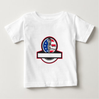 Plumber Hand Holding Pipe Wrench Flag Circle Banne Baby T-Shirt