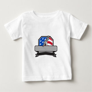 Plumber Hand Holding Pipe Wrench USA Flag Crest Re Baby T-Shirt
