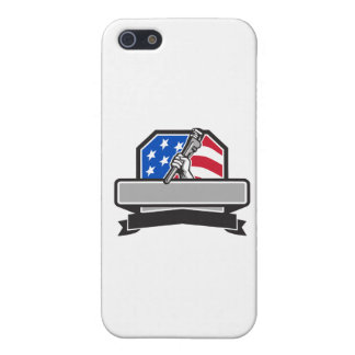 Plumber Hand Holding Pipe Wrench USA Flag Crest Re iPhone 5 Case