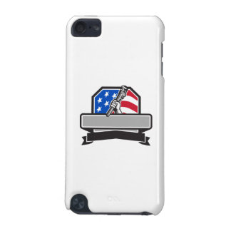 Plumber Hand Holding Pipe Wrench USA Flag Crest Re iPod Touch (5th Generation) Covers