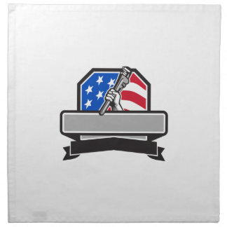 Plumber Hand Holding Pipe Wrench USA Flag Crest Re Napkin