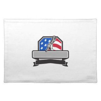 Plumber Hand Holding Pipe Wrench USA Flag Crest Re Placemat