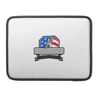 Plumber Hand Holding Pipe Wrench USA Flag Crest Re Sleeve For MacBooks