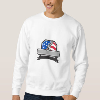 Plumber Hand Holding Pipe Wrench USA Flag Crest Re Sweatshirt
