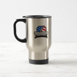 Plumber Hand Holding Pipe Wrench USA Flag Crest Re Travel Mug