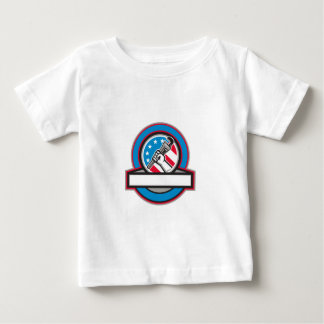 Plumber Hand Pipe Wrench USA Flag Circle Baby T-Shirt