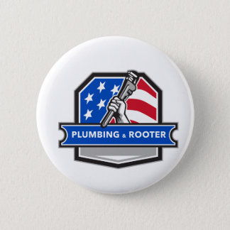Plumber Hand Pipe Wrench USA Flag Crest Retro 2 Inch Round Button