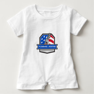 Plumber Hand Pipe Wrench USA Flag Crest Retro Baby Romper