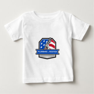 Plumber Hand Pipe Wrench USA Flag Crest Retro Baby T-Shirt