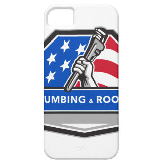 Plumber Hand Pipe Wrench USA Flag Crest Retro Case For The iPhone 5