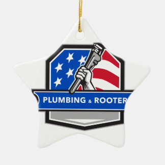Plumber Hand Pipe Wrench USA Flag Crest Retro Ceramic Ornament