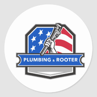Plumber Hand Pipe Wrench USA Flag Crest Retro Classic Round Sticker