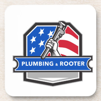 Plumber Hand Pipe Wrench USA Flag Crest Retro Coasters