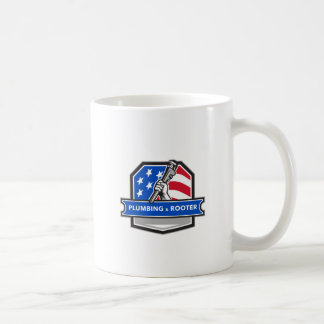 Plumber Hand Pipe Wrench USA Flag Crest Retro Coffee Mug
