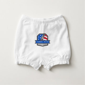 Plumber Hand Pipe Wrench USA Flag Crest Retro Diaper Cover