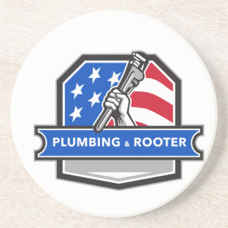 Plumber Hand Pipe Wrench USA Flag Crest Retro Drink Coaster