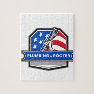 Plumber Hand Pipe Wrench USA Flag Crest Retro Jigsaw Puzzle