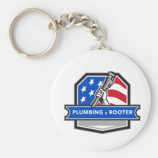 Plumber Hand Pipe Wrench USA Flag Crest Retro Keychain