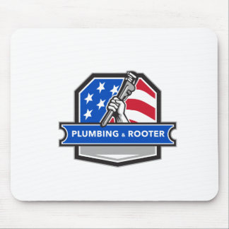Plumber Hand Pipe Wrench USA Flag Crest Retro Mouse Pad
