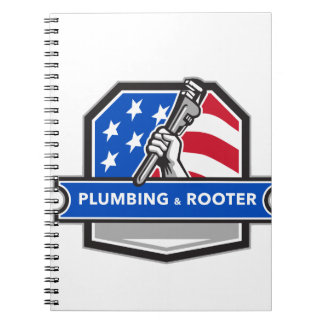 Plumber Hand Pipe Wrench USA Flag Crest Retro Notebook