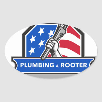 Plumber Hand Pipe Wrench USA Flag Crest Retro Oval Sticker