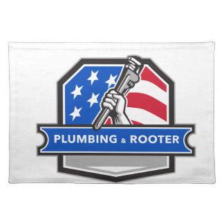 Plumber Hand Pipe Wrench USA Flag Crest Retro Place Mats