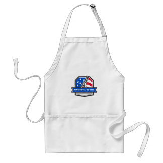 Plumber Hand Pipe Wrench USA Flag Crest Retro Standard Apron