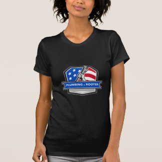 Plumber Hand Pipe Wrench USA Flag Crest Retro T-Shirt