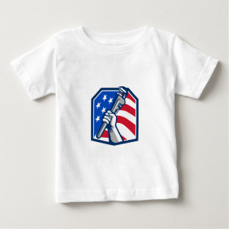 Plumber Hand Pipe Wrench USA Flag Retro Baby T-Shirt