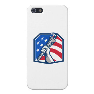Plumber Hand Pipe Wrench USA Flag Retro iPhone 5/5S Cover