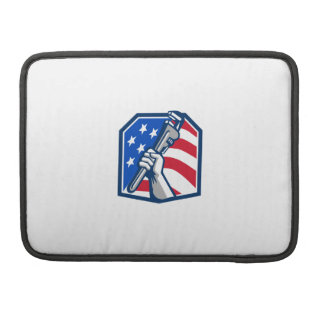 Plumber Hand Pipe Wrench USA Flag Retro Sleeve For MacBook Pro