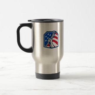 Plumber Hand Pipe Wrench USA Flag Retro Travel Mug