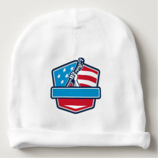 Plumber Hand Pipe Wrench USA Flag Shield Retro Baby Beanie