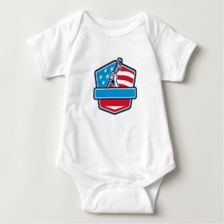 Plumber Hand Pipe Wrench USA Flag Shield Retro Baby Bodysuit