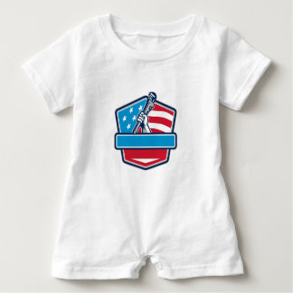Plumber Hand Pipe Wrench USA Flag Shield Retro Baby Romper