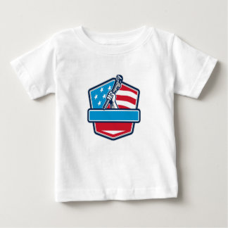 Plumber Hand Pipe Wrench USA Flag Shield Retro Baby T-Shirt
