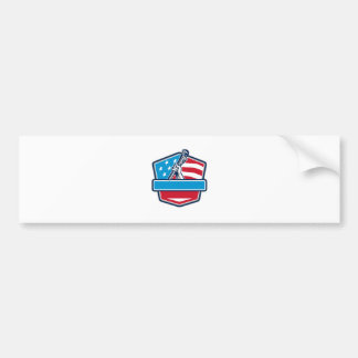 Plumber Hand Pipe Wrench USA Flag Shield Retro Bumper Sticker
