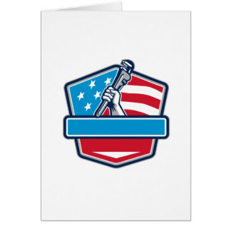 Plumber Hand Pipe Wrench USA Flag Shield Retro Card