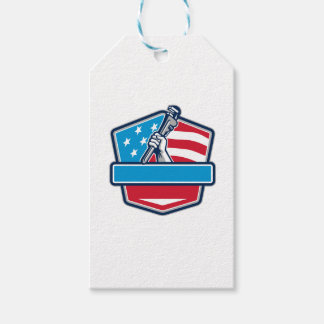 Plumber Hand Pipe Wrench USA Flag Shield Retro Gift Tags