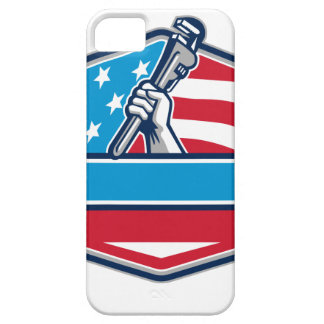 Plumber Hand Pipe Wrench USA Flag Shield Retro iPhone 5 Covers