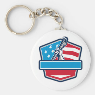 Plumber Hand Pipe Wrench USA Flag Shield Retro Keychain
