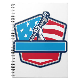 Plumber Hand Pipe Wrench USA Flag Shield Retro Notebooks