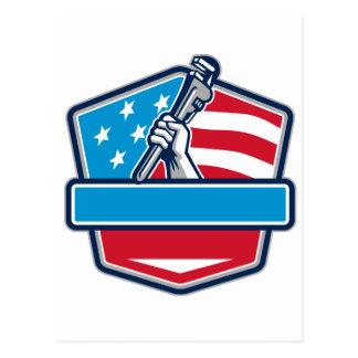 Plumber Hand Pipe Wrench USA Flag Shield Retro Postcard