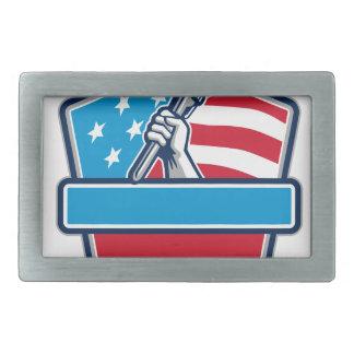 Plumber Hand Pipe Wrench USA Flag Shield Retro Rectangular Belt Buckles