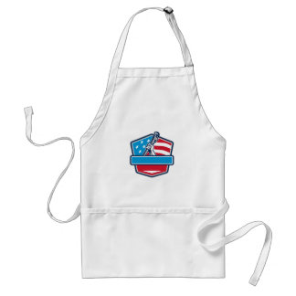 Plumber Hand Pipe Wrench USA Flag Shield Retro Standard Apron