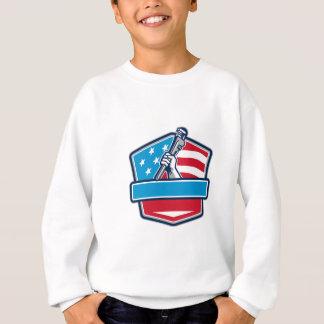 Plumber Hand Pipe Wrench USA Flag Shield Retro Sweatshirt