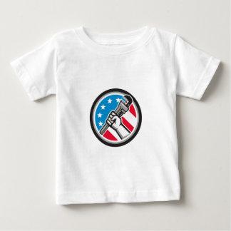 Plumber Hand Pipe Wrench USA Flag Side Angled Circ Baby T-Shirt