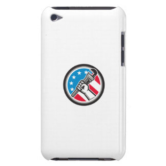 Plumber Hand Pipe Wrench USA Flag Side Angled Circ Barely There iPod Covers